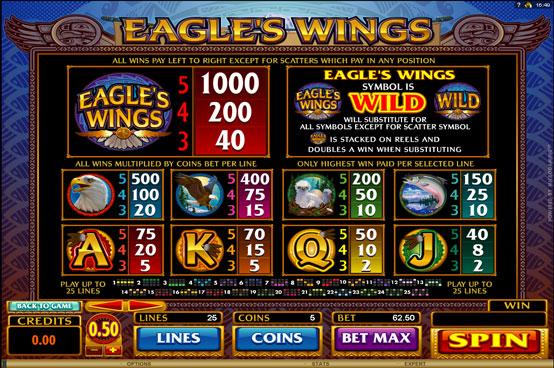 រូបភាពនិមិត្តរូបស្លុតអនឡាញ Eagle Wing